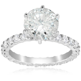 5 carat Enhanced Diamond Engagement Eternity Ring 14K White Gold Round Cut (H-I, I1-I2)