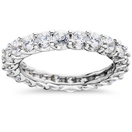 2 1/2ct U Shape Diamond Eternity Ring 14K White Gold (G/H, I1-I2)
