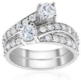 2ct Diamond Forever Two Stone Solitaire Engagement Ring Wedding Set White Gold (H/I, I1-I2)