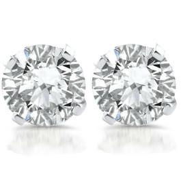 1ct Diamond Studs 14k White Gold Clarity Enhanced (E, SI(2)-I(1))