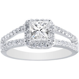 1ct Halo Split Shank Diamond Ring 14K White Gold (G/H, SI2-I1)