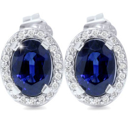 2 1/4ct Blue Sapphire Diamond Halo Studs 14K White Gold (G/H, I2)