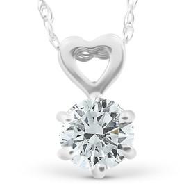 3/8ct Solitaire Diamond Heart Pendant Necklace 14K White Gold (G/H, I1-I2)