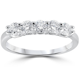 1/2ct Diamond Five Stone Wedding Ring 14K White Gold (G/H, I1)