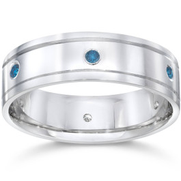 Mens 1/4ct Blue Diamond 14K White Gold Wedding Band (Blue, SI)