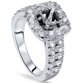 1ct Cushion Halo Engagement Ring Setting 14K White Gold (G/H, SI2-I1)