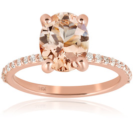 2 1/10 cttw Oval Morganite & Diamond Engagement Ring 14k Rose Gold (H/I, I2-I3)