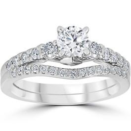 1 1/10ct Diamond & Blue Sapphire Engagement Ring Set 14k White Gold (G/H, I1)
