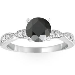 2 1/4ct Black & White Diamond Engagement Ring 14K White Gold (G/H, I1-I2)