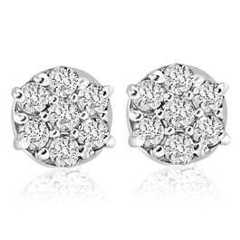 1/4cttw Diamond Cluster Womens Studs in 10k White Gold (I-J, I2-I3)