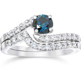 3/4ct Blue & White Diamond Engagement Wedding Ring Set 14K White Gold (G/H, I1)