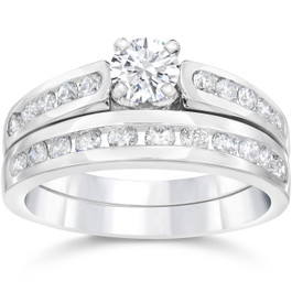 1 1/2ct Channel Set Diamond Engagement Ring Set 14K White Gold (G/H, I1-I2)