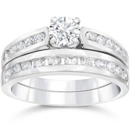 1 1/2ct Channel Set Diamond Engagement Ring Set 14K White Gold (G/H, I1-I2)