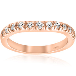 1/4ct Diamond Curved Wedding Guard Band 14K Rose Gold (H/I, I1-I2)