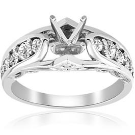 3/8ct Diamond Engagement Ring Setting Vintage Mount 14K White Gold (G/H, I1)