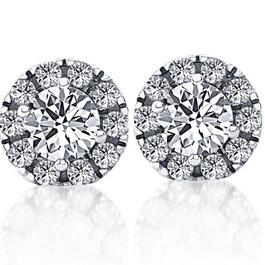 1 1/2ct Pave Halo Diamond Studs 14K White Gold (H, I1)