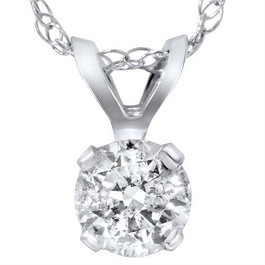 "1 1/2ct Round Brilliant Cut Solitaire Diamond Pendant 14K White Gold & 18"" Chain ((F), (SI2))"