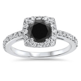 1 3/8ct Diamond & Black Engagement Ring 14K White Gold (G/H, SI2)