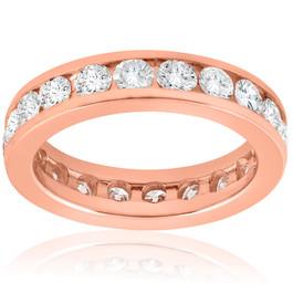 2 ct Diamond Eternity Ring 14k Rose Gold Channel Set Womens Round Wedding Band (H/I, I1-I2)