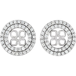 7/8Ct Double Halo Diamond Earring Jackets 14K White Gold (For 8mm Pearls) (H-I, I1)