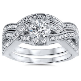 1 1/10ct Diamond Infinity Engagement & Matching Wedding Ring Set 14K White Gold (G/H, I1)