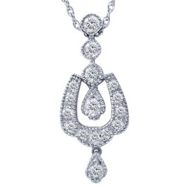 1/3ct Vintage Diamond Dangle Pendant 14K White Gold (G/H, I2)
