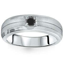 1/4ct Mens Black Diamond Solitaire Ring 14K White Gold (Black, )