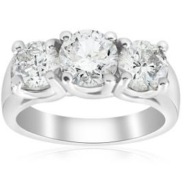 2 3/4ct Three Stone Diamond Engagement Ring 14K White Gold (I/J, I2-I3)