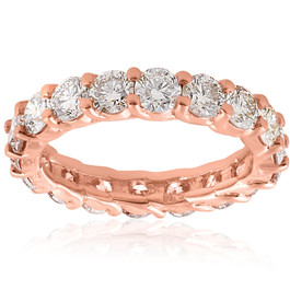 3cttw Diamond Eternity Ring 14k Rose Gold U Prong Womens Wedding Band (H/I, I1-I2)