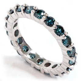 2ct Prong Blue Diamond Eternity Ring 14K White Gold (blue, I1)