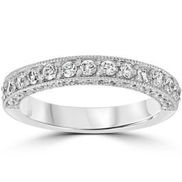 1 1/6ct Diamond Vintage Heirloom Wedding Ring 14K White Gold (H/I, I1-I2)