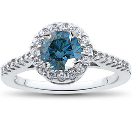 1 1/2 ct Blue Diamond Halo Engagement Ring 14K White Gold (G/H, I1)