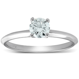 VVS1 1/3ct Round Solitaire Diamond Engagement Ring 14K White Gold (I-J, VVS)