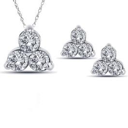 2ct 3 Stone Diamond Earrings & Matching Pendant Set 14K White Gold (H-I, I1-I2)