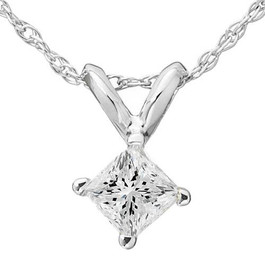 5/8ct Princess Cut Solitaire Diamond Pendant 14K White Gold (G/H, SI3/I1)