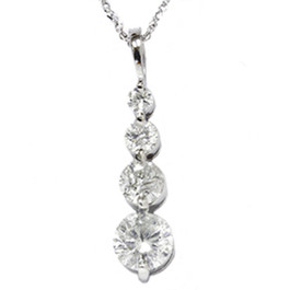 1 1/2ct 14K White Gold Real Diamond Journey Pendant New (G/H, I1)