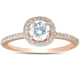 1 1/4ct Cushion Halo Rose Gold Enhanced Diamond Engagement Ring 14K (G/H, SI)