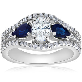 2 1/2ct Oval Diamond Pear Blue Sapphire Halo Engagement Ring 14K White Gold (G/H, SI2-I1)