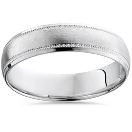 10K White Gold Mens 6mm Brushed Comfort Fit Wedding Band