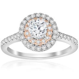 7/8 cttw Diamond Double Halo White & Rose Gold Engagement Ring 14k (H/I, I1-I2)