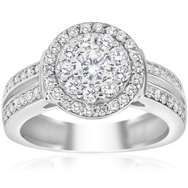 1 cttw Diamond Double Halo Engagement Ring 10K White Gold (H/I, I1-I2)