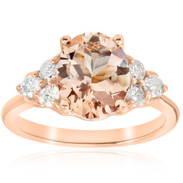 2 1/3 cttw Oval Morganite & Diamond Engagement Ring 14k Rose Gold (H/I, I1-I2)