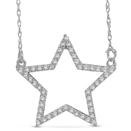 14k White Gold 1/4ct Diamond Star Pendant Necklace (I, I2-I3)