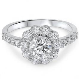 2 1/6ct Diamond Halo Engagement Ring 14K White Gold (G/H, I1)