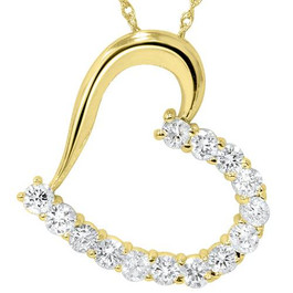 "1 1/20ct Diamond Heart Pendant 14K Yellow Gold 1"" Tall (G/H, I1)"