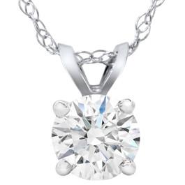 2ct Lab Grown Diamond Round Solitaire Pendant 14K White Gold (F, VS)