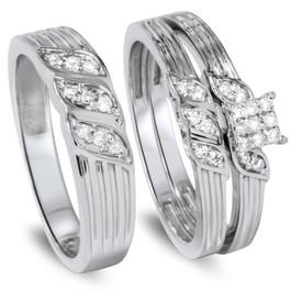 1/3ct Engagement Trio Ring Set 10K White Gold (I/J, I2-I3)