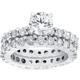 4ct Diamond Eternity Engagement Ring Set 14K White Gold (G/H, I1-I2)