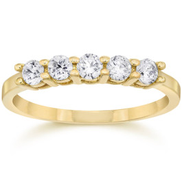 1/2ct Five Stone Diamond Ring 14K Yellow Gold (G/H, I2-I3)