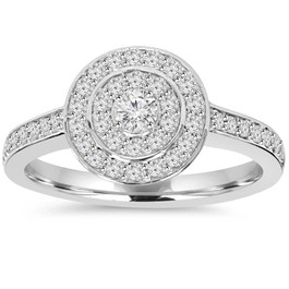 1/2ct Double Halo Round Diamond Engagement Ring 10K White Gold (H/I, I2-I3)